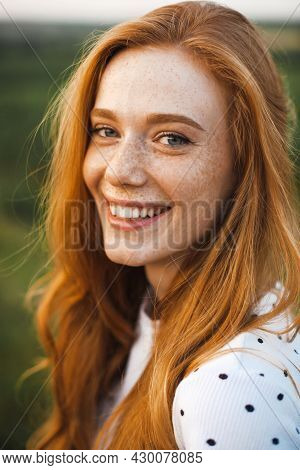 Beautiful Red Haired Woman With Freckles. Pretty Young Woman. Luxury Travel. Beauty Face.
