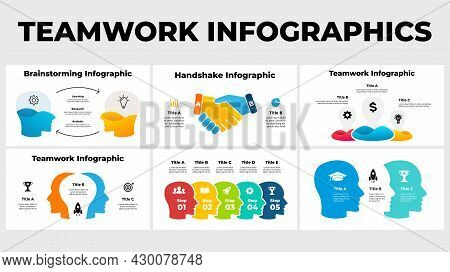 Teamwork Business Infographics. Presentation Slide Template. Creative Thinking. Group Of People Coll