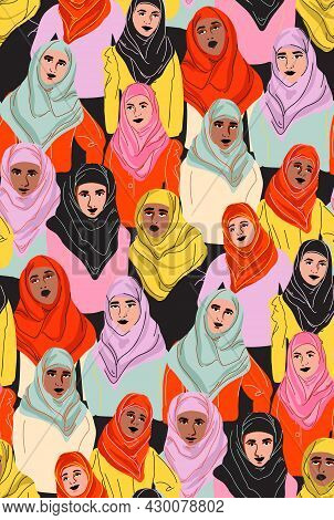 Muslim Women In Hijab, Arab Girl In Coolor Headscarf. Woman Portrait In Tradiotion Islamic Clothes,