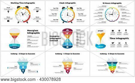Vector Time Infographic. Clock Circle Diagram. Hourglass Chart. Iceberg Conceptual Banner. Presentat