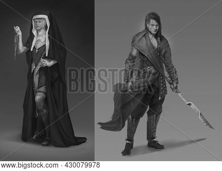 Digital Illustration Of Imaginative Fantasy Male Man Character Of A Warrior Monk In Tribal Costume A