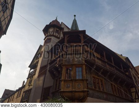 Original Old Facade With Wood In Colmar In France While Visiting The City
