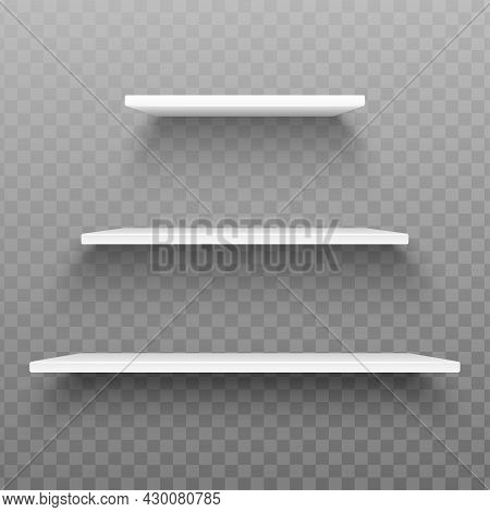 Realistic White Shelves On Transparent Background. Set Of Plastic Shelves With Shadow. Template Desi