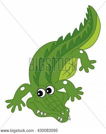 Cute Cartoon Green Crocodile Crawling. Vector Crocodile. Alligator Vector Illustration