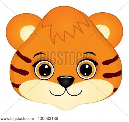 Cute Muzzle Of Baby Tiger. Vector Tigers Face. Muzzle Of Baby Tiger Vector Illustration