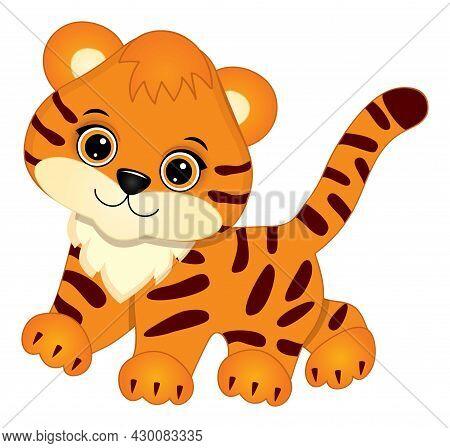 Cute Baby Tiger Walking. Vector Tiger. Baby Tiger Vector Illustration