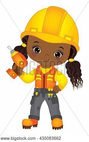 Vector Cute Little African American Girl Drilling. Vector Construction. Vector Little Black Girl Wea