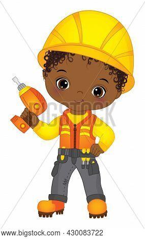 Vector Cute Little African American Boy Drilling. Vector Construction. Vector Little Curly Black Boy