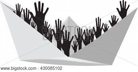 Paper Craft With Black Figures Of Hands