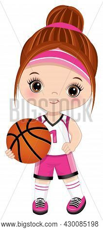 Cute Little Girl Wearing Pink And White Sport Outfit Playing Basketball. Little Girl Is Redheaded Wi