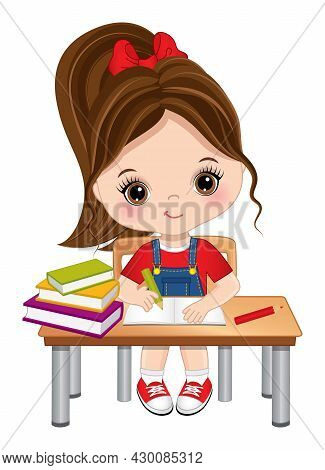 Cute Little Girl Sitting At Desk And Writing. Vector Back To School. Little Girl Is Brunette With Po