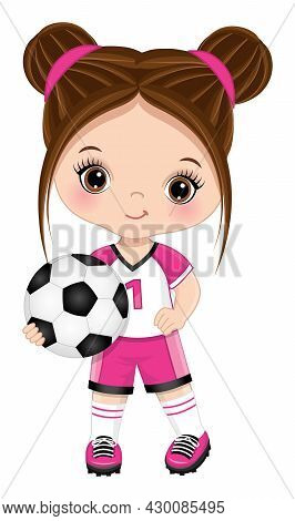 Vector Cute Little Soccer Girl Wearing Pink And White Sport Outfit Holding Football Ball. Little Gir