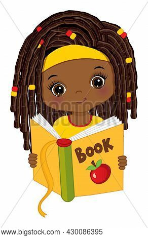 Cute Little Black Girl Reading Book. Vector Back To School. Little African American Girl With Dreadl