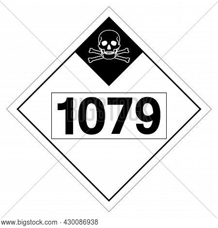 Un1079 Class 2 Sulfur Dioxide Symbol Sign, Vector Illustration, Isolate On White Background, Label .