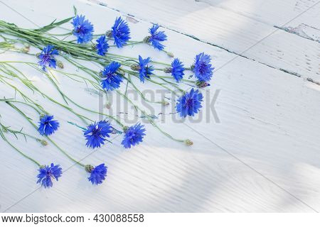 Blue Cornflowers On White Old Wooden Background