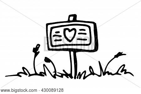 A Garden Sign With A Heart, Stands In The Grass With Spikelets.vector Sign On The Lawn Drawn In Dood