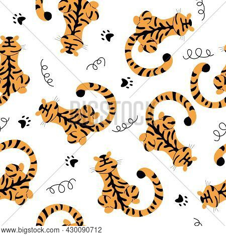 Vector Seamless Pattern With Spotted Tigers.  Tigers On A White Background With Cat Paws.  Wildlife