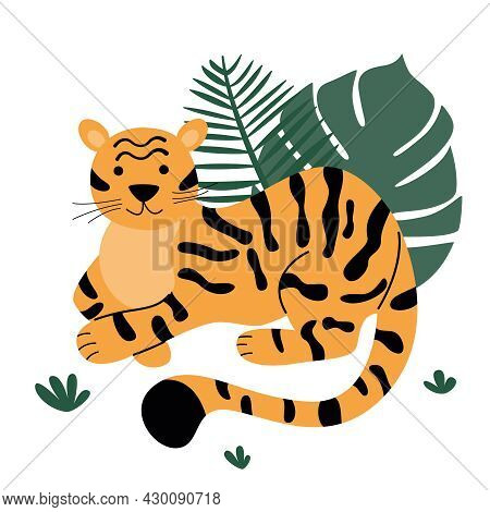 A Funny Orange Tiger Sits And Watches In The Grass.  Palm Leaves.  Wild Cute Predatory Cats Isolated