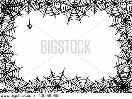 Vector Frame Made Of Spider Web With An Empty Space For Text. Horizontal Rectangular Template Made O