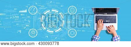 Robotic Process Automation Rpa Theme With Person Using A Laptop Computer