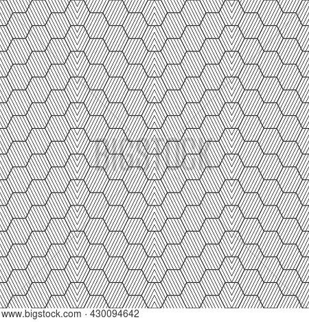 Seamless Pattern. Modern Stylish Geometrical Texture. Regularly Repeating Striped Hexagons, Zigzags,