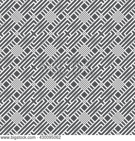 Seamless Pattern. Infinitely Repeating Stylish Elegant Texture Consisting Of Linear Grid, Rhombuses,