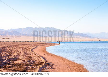 Nabq coast in the north of Sharm El Sheikh, with views across the Aqaba Gulf, South Sinai, Egypt.