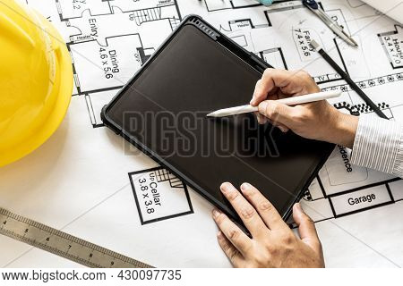 Architects Are Drawing House Design Blueprints, Designing The House According To The Needs Of The Ho