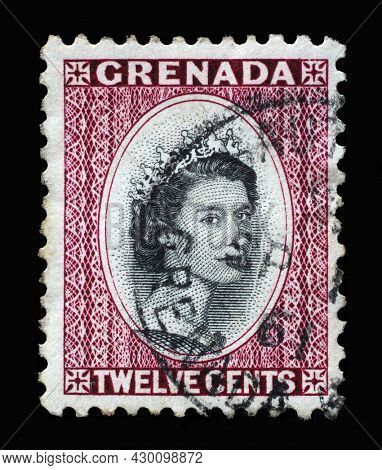 ZAGREB, CROATIA - SEPTEMBER 18, 2014: Stamp printed in Grenada shows Queen Elizabeth II, circa 1953