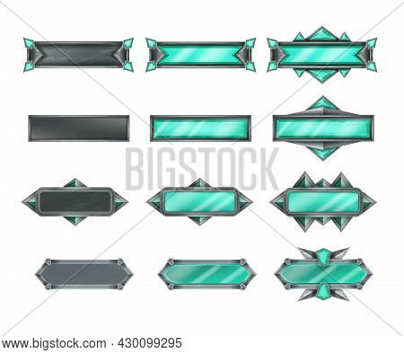 Game Button Vector Set, Stone Interface Design Icon Kit, Green Crystal Level Frame, Medieval Metal B
