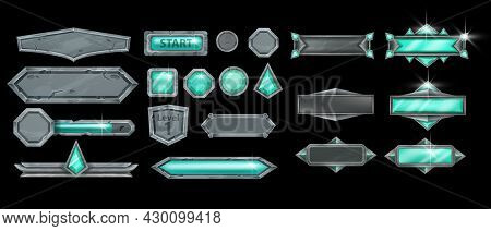 Stone Ui Game Frame Set, Rock Vector User Interface Button Kit, Green Gemstone, Magic Assets Collect