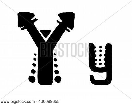 African Culture Vector Alphabet Black Color Isolated On Whute Background. Letter Y Symbol. Antique A