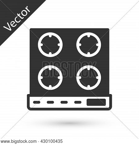 Grey Gas Stove Icon Isolated On White Background. Cooktop Sign. Hob With Four Circle Burners. Vector