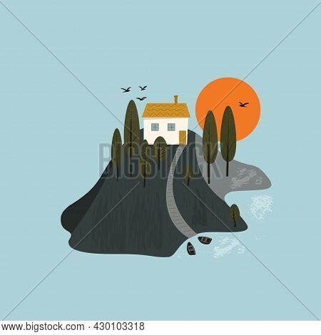Scene With A Hill, A White House, A Lake And Boats. The House Is On A Hill. Sunset Or Sunrise.