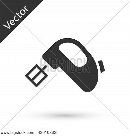 Grey Electric Mixer Icon Isolated On White Background. Kitchen Blender. Vector