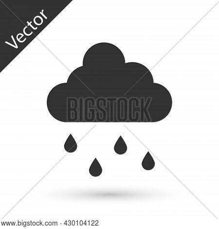 Grey Cloud With Rain Icon Isolated On White Background. Rain Cloud Precipitation With Rain Drops. Ve