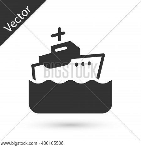 Grey Cruise Ship Icon Isolated On White Background. Travel Tourism Nautical Transport. Voyage Passen