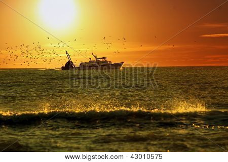 Fishing Boat In Sunrise