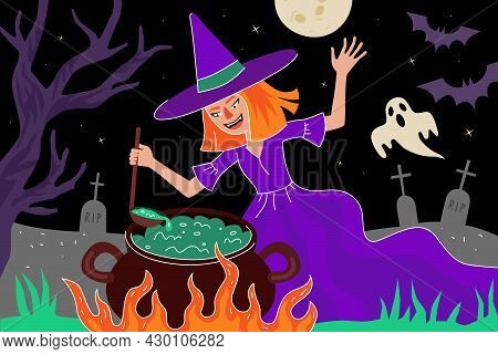Happy Halloween Holiday Greeting Card. The Witch Brews Magic Potion In Cauldron In Moonlight Night C