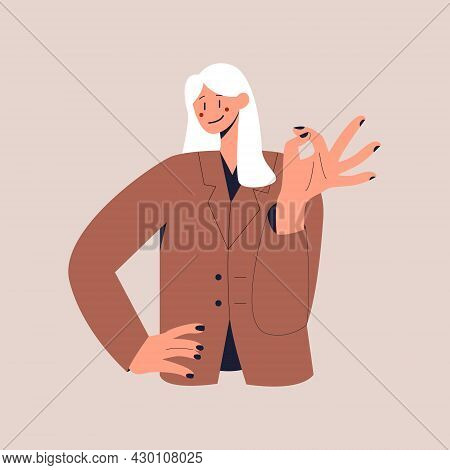 A Happy Woman In A Business Suit Shows The Ok Sign. The Ok Gesture. Colorful Flat Vector Illustratio