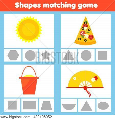 Matching Children Educational Game. Match Real Objects With Geometric Shapes. Learning Forms Activit