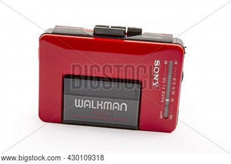 Huettenberg, Germany - 2021-04-07: Beautiful Red Vintage Sony Walkman Wm-24 Over Bright Background.