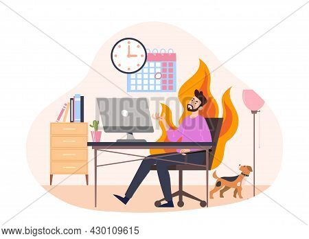 Concept Of Missing Deadline. Character Doing Badly With Time Management. Scene With A Frightened, Ne