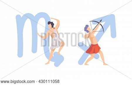 Astrological Sign Or Sign Of Zodiac With Male Near Scorpio And Sagittarius Symbol Vector Set