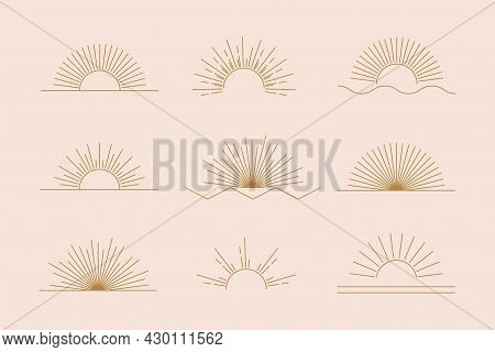 Vector Sun Set Of Linear Boho Icons And Symbols, Gold Sun Logo Design Templates, Abstract Design Ele