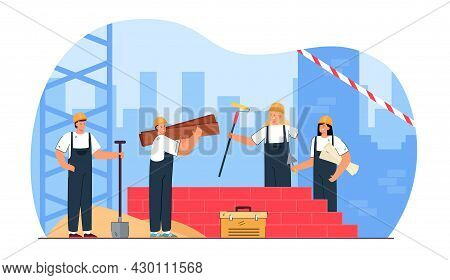 Young Cartoon People Constructing Brick Building. Flat Vector Illustration. Builders With Shovel, Tr