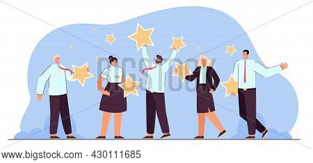 Business Team Holding Stars In Hands. Flat Vector Illustration. Adult People Experiencing Best Ratin