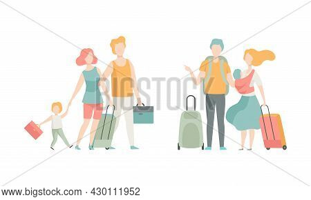 Family Travelling With Kids Pulling Suitcase Holding Child By Hand Vector Set