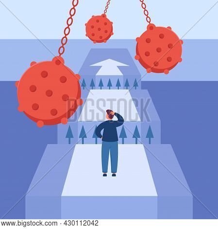 Fearless Cartoon Employee Facing Obstacles On Career Path. Brave Businessman In Front Of Chasm, Dete