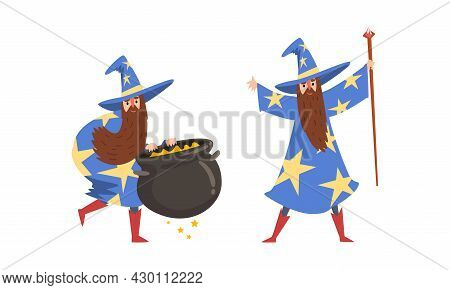 Sorcerer In Pointed Hat And Starry Gown Practicing Wizardry And Witchcraft With Magic Stick And Caul